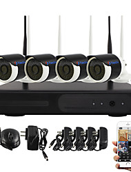 Telecamera wireless yanse® wifi ip nvr kit dvr sistema telecamere cctv impermeabile home security 4ch 720p