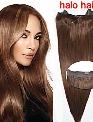 abordables -vente chaude droite 100g de cheveux humains / sac bascule dans l'extension de cheveux # 4 brun extensions de cheveux de halo 16 '' - 20 ''
