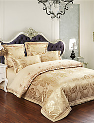 Duvet Cover Sets Floral 4 Piece Cotton Jacquard Cotton 4pcs (1 Duvet Cover, 1 Flat Sheet, 2 Shams)