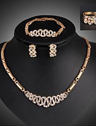 Feminino Conjunto de Jóias Moda Jóias de Luxo bijuterias 18K ouro Imitações de Diamante Forma Geométrica Brincos Colar Pulseira Anel Para
