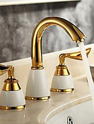 billige -Håndvasken vandhane - Roterbar Ti-PVD Udspredt To Håndtag tre huller