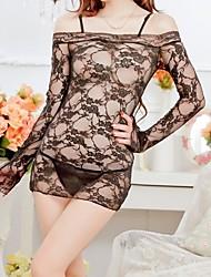 Donna Camicie da notte e vestitini Lingerie di pizzo Body Indumenti da notte Tinta unita Pizzo Bianco Viola Rosso Nero