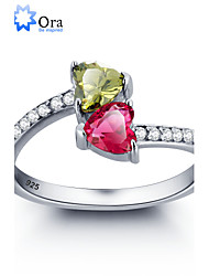 cheap -2016 Noble Double Heart Stone Promise Zircon 925 Sterling Silver Ring For Woman&Lady