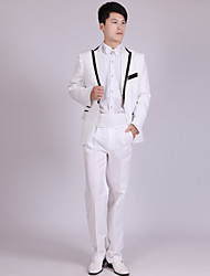 cheap -White / Black Stripe Tailored Fit Polyester Suit - Notch Single Breasted One-button / Suits