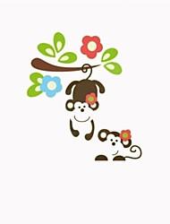 scimmie svegli che giocano sul wall stickers alberi animali per i bambini locali zooyoo1202 stickers murali PVC estraibile decorazione
