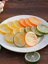 20pcs artificielle tranches de citron faux réaliste fruits en plastique décoratifs couleur aléatoire