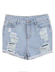 preiswerte -Damen Mikro-elastisch Jeans Hose, Baumwolle Sommer Solide