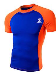 Herren T-shirt-Druck Freizeit / Büro / Formal / Sport Baumwolle Kurz-Grün / Orange / Weiß