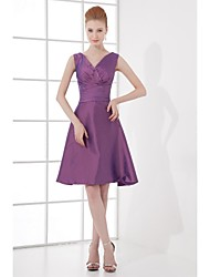 cheap -A-Line V-neck Knee Length Taffeta Bridesmaid Dress with Bow(s) Side Draping by LAN TING BRIDE®