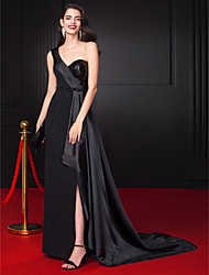 Sheath / Column One Shoulder Floor Length Chiffon Stretch Satin Sequined Evening Dress with Beading by TS Couture®