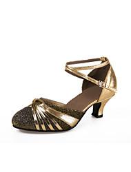 baratos -Mulheres Sapatos de Dança Moderna Flocagem Sandália / Salto Gliter com Brilho / Presilha Salto Cubano Não Personalizável Sapatos de Dança Azul / Dourado / Púrpura / Interior / Profissional