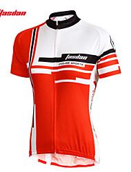 TASDAN Dame Kortærmet Cykeltrøje - Rød Lys pink Cykel Trøje Tøjsæt, Hurtigtørrende, Ultraviolet Resistent, Åndbart, Svedreducerende