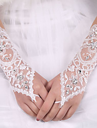 cheap -Silk Elastic Satin Elbow Length Glove Bridal Gloves With Bowknot