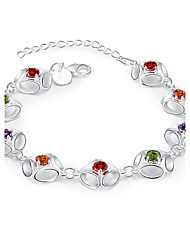 Lureme® Creative Style Silver Plated Geometry with Colorful Zircon Bracelets for Women