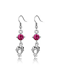 Luxury Austria Crystal Drop Earrings for Women Long Fish Earrings Fashion Jewelry Accessories Silver Plated