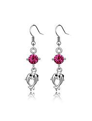 cheap -Luxury Austria Crystal Drop Earrings for Women Long Fish Earrings Fashion Jewelry Accessories Silver Plated