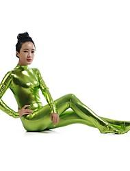 Zentai Suits Ninja Zentai Cosplay Costumes Green Solid Leotard/Onesie Zentai Spandex Shiny Metallic Unisex Halloween