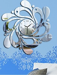 cheap -New Home Decoration Waves Wall Clock Fashion Acrylic Mirror Wall Decal Art Stickers Decals