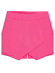 Women's Solid Yellow Black White Red Blue Skirt Like Shorts