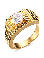 cheap -Men's Statement Ring - Zircon, Gold Plated Fashion 7 / 8 / 9 Golden For Christmas Gifts / Wedding / Party