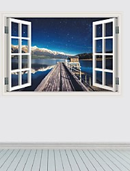 cheap -3D Window Harbor Wharf Star Wall Stickers Personality Backdrop Decorative Seaport Star Wall Paper Home Decor