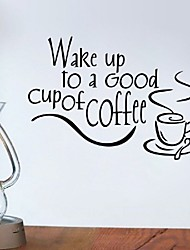 Wake Up To A Good Cup Of Coffee Decor Vinyl Wall Decal Quote Sticker Inspiration Kitchen Decoration Home Decor