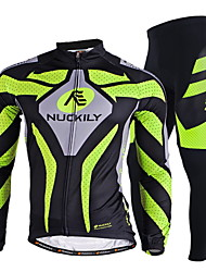 cheap -Nuckily Men's Long Sleeves Cycling Jersey with Tights - Green Bike Clothing Suits, Quick Dry, Ultraviolet Resistant, Breathable,