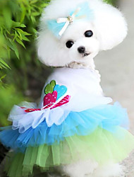 Недорогие -Собака Платья Одежда для собак Мода Сердца Синий Розовый Костюм Для домашних животных
