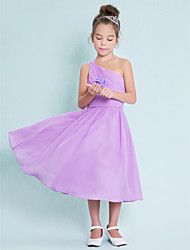 cheap -A-Line One Shoulder Tea Length Chiffon Junior Bridesmaid Dress with Side Draping by LAN TING BRIDE®