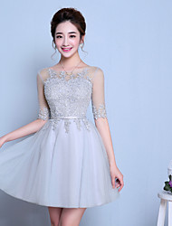 cheap -A-Line Scoop Neck Knee Length Tulle Bridesmaid Dress with Ruffles by LAN TING BRIDE®