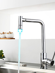 Contemporary Art Deco/Retro Modern Standard Spout Tall/­High Arc Centerset Rain Shower Thermostatic LED Ceramic Valve Single Handle One