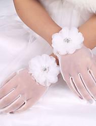 Недорогие -тюль упругий атлас запястье длина перчатки свадебные перчатки элегантный стиль