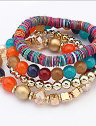 cheap -Strand Bracelet Unique Design Vintage Party Multi Layer Handmade Fashion Stacked Stretch Braided/Cord Beaded Leather Alloy Others Jewelry