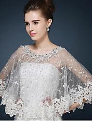 economico -Wraps Wedding Poncho Senza maniche Pizzo / Tulle Avorio Matrimonio / Da sera / Casual A barchetta alto Con cristalli / Pizzo Pullover
