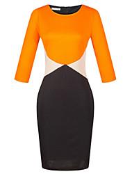 cheap -Women's Plus Size Work Sheath Dress - Color Block High Rise