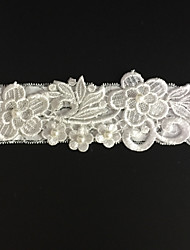 Garter Stretch Satin Flower / Rhinestone Ivory