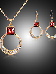 cheap -Jewelry Set Luxury Cute Party Rose Gold Gemstone & Crystal Rhinestone Rose Gold Plated Imitation Diamond Alloy Necklace Earrings