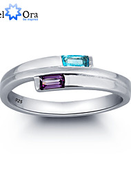 Noble Fashion Zircon 925 Sterling Silver Double Stone Ring For Woman&Lady