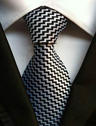 billige -Slips (Sort / Hvid , Polyester) Stribet