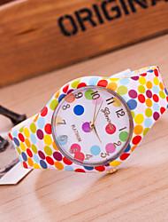 Mulheres Relógio de Pulso Quartzo / Silicone Banda Pontos Casual Cores Múltiplas