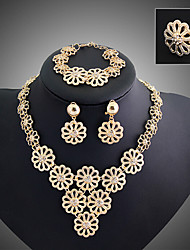 cheap -Layered Jewelry Set - Flower Vintage, Party, Link / Chain Include Gold For / Earrings / Necklace