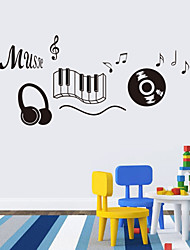 cheap -Music Sticker headphones Theme Music Bedroom Decor Dancing Music Note Removable Wall Sticker  Rooms Decor
