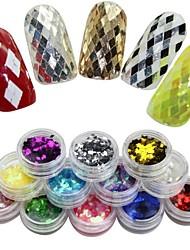 cheap -12 Colors  Rhombus Glitter Nail Art Decoration Combination