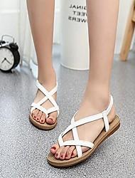 Недорогие -Черный / Белый - Женская обувь - Для праздника / На каждый день - Дерматин - На плоской подошве - Удобная обувь / Обувь через палец -
