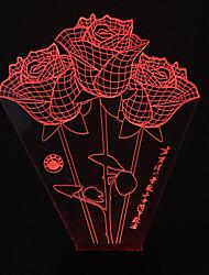 Visual rosas 3d mudança de cor levou decoração usb lâmpada de tabela colorida do presente de luz noturna