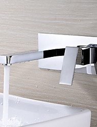 cheap -Contemporary Wall Mounted Rotatable Ceramic Valve Two Holes Single Handle Two Holes Chrome , Bathroom Sink Faucet