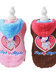 abordables -Perro Abrigos Ropa para Perro Marrón / Azul / Rosa Pana Disfraz Para mascotas Hombre / Mujer Moda