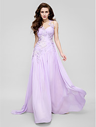cheap -A-Line Illusion Neckline Court Train Chiffon Tulle Prom Formal Evening Dress with Appliques Ruched Side Draping by TS Couture®