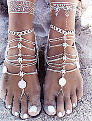 cheap -Layered Anklet Barefoot Sandals - Silver Personalized, Unique Design, European Silver For Christmas Gifts / Daily / Casual / Multi Layer