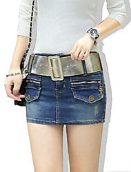 cheap -Women's Solid Blue Cotton Denim Skirt , Sexy / Bodycon / Casual Hole Fashion Slim Thin Jeans skirt (Distribution Belt)